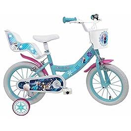Bicicletta DISNEY FROZEN II – misura 16'' – rotelle e freno anteriore / posteriore – colore azzurro / rosa