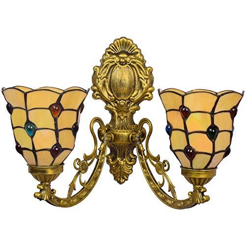 Retro Britisch modern kreative Korridor Doppelkopfwandlampe einfach Glasmalerei Wohnzimmer Esszimmer Glaslampe -