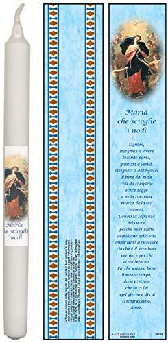 Ferrari & Arrighetti Vela Virgen Desatanudos con oración en Italiano - 4,5 x 25,5 cm (Paquete de 3 Piezas)