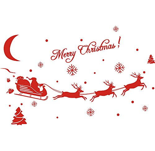 MAYOGO Weihnachten Wandaufkleber Spiegel Schlitten Applique Dekoration Wandaufkleber -