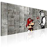 murando - Bilder Banksy Mario 200x80 cm Vlies Leinwandbild 5 TLG Kunstdruck modern Wandbilder XXL Wanddekoration Design Wand Bild - Street Art Urban Mural i-C-0111-b-m