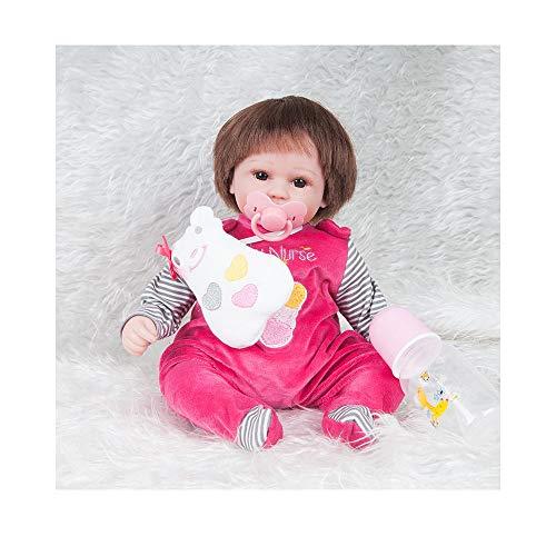 Kostüm Mädchen Marionetten - ADATEN Lieblich Wiedergeboren Baby Puppen Pflegen Puppe Handarbeit 45 cm groß Stoff Körper Weich Silikon Lebensecht Erwachsen Werden Partner Mit Schön Kostüm Mädchen Junge,B