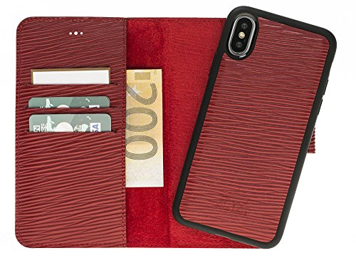 Solo Pelle Iphone X abnehmbare Lederhülle (2in1) inkl. Kartenfächer für das original Iphone X in Epi Rot / kabelloses Laden möglich (Rot Leder Louis Vuitton)