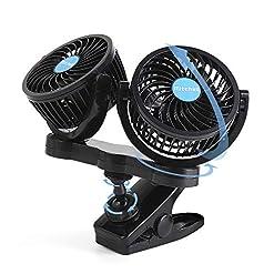 ISSYZONE Ventilatore Auto 12 Volt Ventosa Rotazione a 360 Gradi a Basso Rumore Facile Montaggio e Smontaggio Ventola di Raffreddamento per Auto Berline Fuoristrada