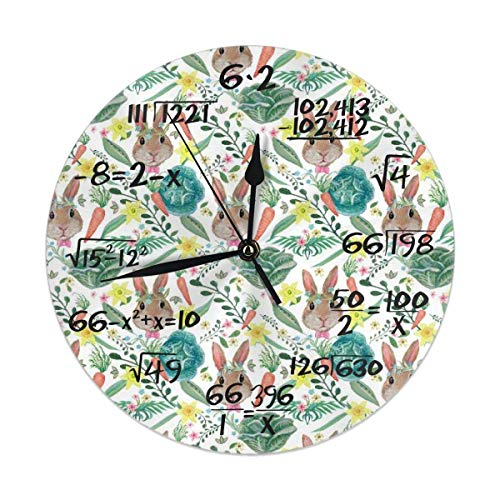 Uosliks Watercolor Rustic Fall Rabbits Floral Garden Wall Clock Silent Non-Ticking Battery Operated Easy to Read Decorative for Living Room Office -