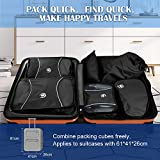 6 Sets Packing Cubes Luggage Organisers, Super Durable Waterproof Travel Storage Bag Shoe Organizer Toiletry Organiser Suitcase Compression Pouches (Black)