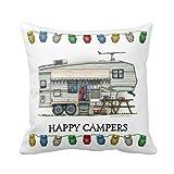 B Lyster shop Cotton Linen Decorative Throw Pillow Case Cushion Cover Cute RV Vintage Fifth Wheel Camper Travel pillow c