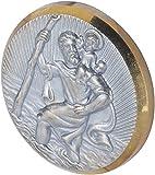 Herbert Richter Médaille autoadhésive Saint-Christophe pour voiture, bord doré, modèle rond Ø 42 mm