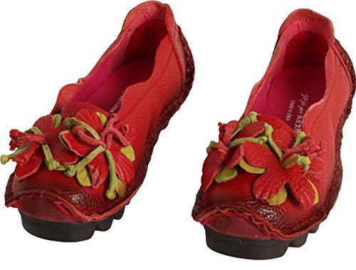 MatchLife Femme Vintage Cuir Plate Escarpins Floral Chaussures Style2-Rouge