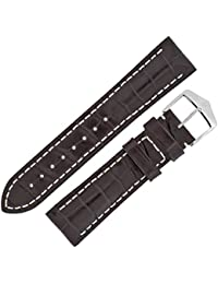 Hirsch Capitano Padded Alligator Leather Water-Resistant Watch Strap with Buckle in Brown (22mm (20mm Buckle), Silver Buckle)