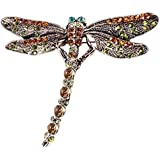 Sanwood Fashion Women's Dragonfly Crystal Scarf Pin Brooches