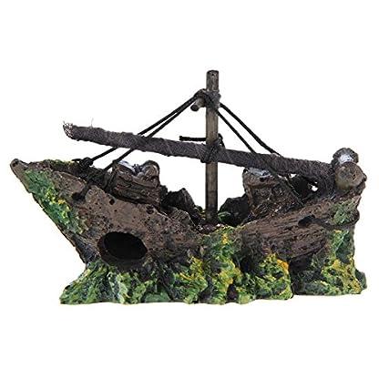 Broadroot Fish Tank Landscape Sailing Boat Shipwreck Shaped Ornament Aquarium Fish Tank Pirate Decor 8