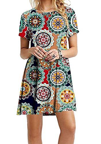 OMZIN Frauen Plus Größe Gedruckt kurzen Ärmeln beiläufige lose ausgestattet Tshirt Kleid Shirtkleid,Grüner Jahresring,XL