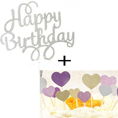 1 Set Kuchendekoration Kuchen Dekorieren Geburtstagskuchen Topper Cake Toppers Deko, Happy Birthday Silber und Herz