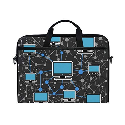 Ahomy 14 Zoll Laptoptasche, Computernetzwerk, Leinenstoff, Laptoptasche, Handtasche mit Schultergurt für Damen und Herren