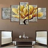HD Flor Amarilla impresa con la imagen enmarcada Direatly entregó 5 piezas de arte lienzo cuadros de pared para Salón cuadros decoracion