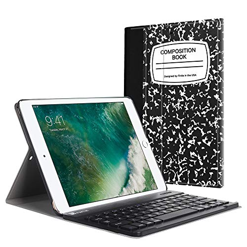 le für iPad 9.7 Zoll 2018 2017 / iPad Air 2 / iPad Air - Ultradünn leicht Schutzhülle Keyboard Case mit magnetisch Abnehmbarer drahtloser Deutscher Bluetooth Tastatur, Notizblock ()