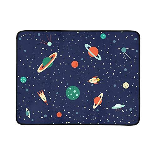 KAOROU Space Set Planets Orbits Rockets Satellite Pattern Tragbare und Faltbare Deckenmatte 60x78 Zoll Handliche Matte für Camping Picknick Strand Indoor Outdoor Reise