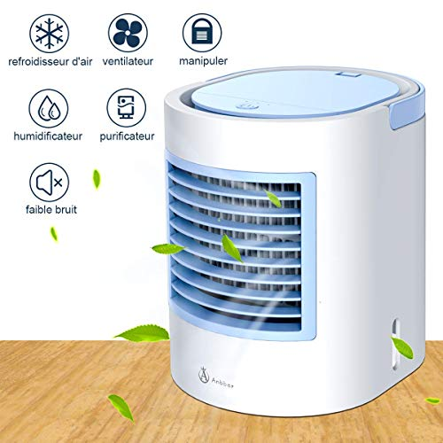 climatiseur mobile, clim mobile, climatiseur portable, Moyen rapide et facile de refroidir un espace personnel, adapté au chevet, au bureau et à la salle d'étude. Réglage du niveau de vent, clé USB