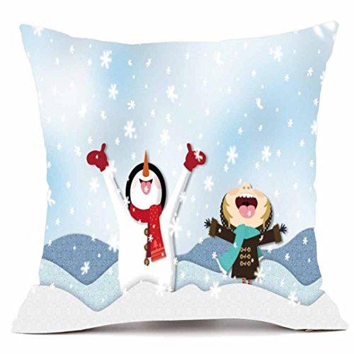 Cartoon Santa Schneemänner Kissen Fall, yoyoug Merry Christmas Kissen super Kaschmir Sofa Kissenbezug Home Decor, e, Einheitsgröße (Schneemann-kissen Zustand)