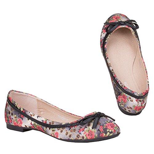 Damen Schuhe, GM-5063, BALLERINAS Schwarz Multi