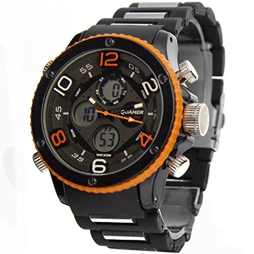 Oramics Armbanduhr mit Analog-/ und Digitalzeiger, LED Beleuchtung, Wecker Chronograph in Schwarz/Orange