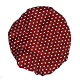 Imported Shower Cap Bath Shower Reusable Clear Satin Hair Cover Spa Salon Care Red