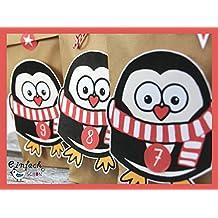 b5321af27a Adventskalender DIY Pinguin Set rot 24 Geschenktüten braun zum befüllen  basteln