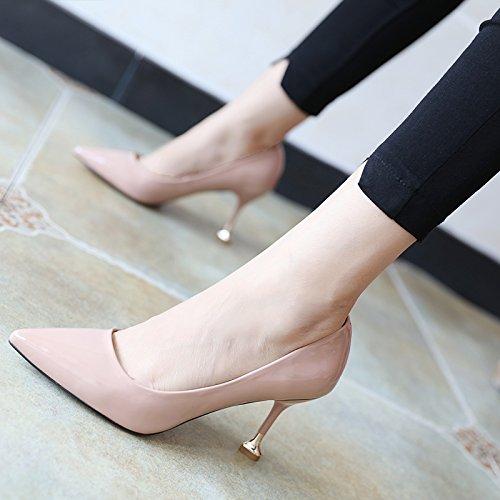 FLYRCX Semplice Moda scarpe di cuoio Asakuchi autunno ladies personalità del mondo della moda di partito scarpe tacchi B