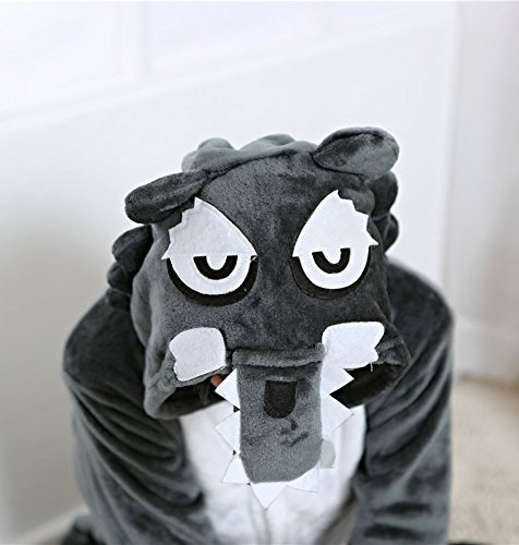 Cliont Animal Big Wolf Pyjamas Kigurumi Vêtements de nuit Costumes de nuit Anime Cosplay Noël Onesie Gris