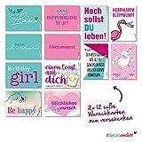 24 Wunschkarten | dv_203 | mit coolen Sprüchen und Motiven | Geburtstagskarten Karte Postkarte Glückwunschkarte Geburtstag Freude Glück Happy Birthday Einhorn Flamingo Ehrentag Kartenset