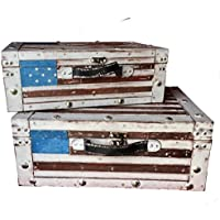 2 x Maleta vintage, caja de almacenaje, decoración retro, para decorar hogar con bandera USA.