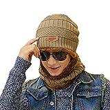 2-pieces winter beanie hat scarf set warm knit thick skull cap unisex outdoor sport wintermütze strickmütze kuschelig schal mit loop