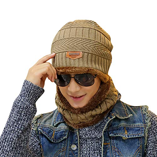 3703c2b8df189 2-pieces winter beanie hat scarf set warm knit thick skull cap unisex  outdoor sport
