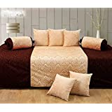 Handtex Home Diwan Set Of 8 Pcs(content: 1 Single Bed Sheet, 5 Cushion Cover, 2 Bolster, Total - 8 Pcs Set, 100% Cotton ) - Coffee-Beige
