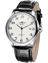 WINNER Men &Women Mechanical Watch Hand-winding Leather Strap Unisex Wristwatch