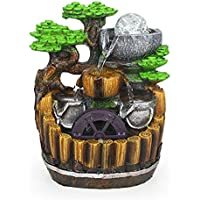 Moylor Indoor Tabletop Water Fountain Environmental Resin Waterfall Home Decor with LED Colorful Lights (water pump included)