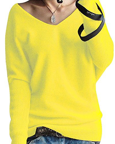 Striped V-neck Pullover (Shallgood Damen Mode Kaschmir Pullover Sexy Lose Große Langen Ärmeln V-Ausschnitt Fledermausflügel Herbst Und Winter Ärmel Pullover Gelb DE 46)