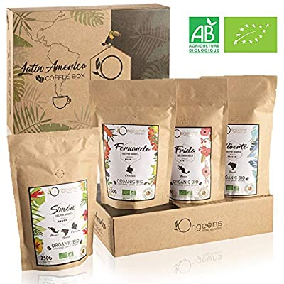 Organic Coffee Beans, Coffee Gift Set | Arabica Whole Beans 4x250g | Hand-Roasted from Gemyno
