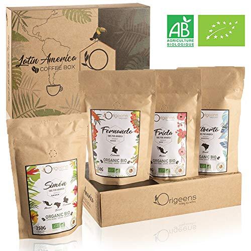 ☘️ BIO Kaffeebohnen Probierset ● Arabica Kaffee Ganze Bohnen Set 4x250g ● Traditionelle Röstung ● Geschenk-Set für Kaffeekenner