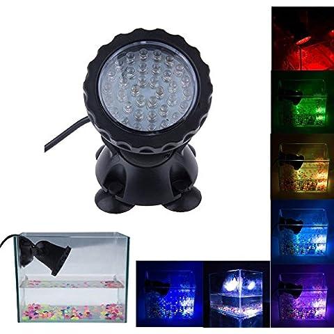 Bloowmin-3.5W 12V 36 LEDs Sumergible Foco Lámpara bajo el agua Estanque Piscina acuarios Jardín Multicolor