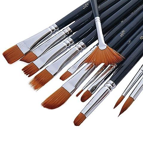 MyLifeUNIT 12pcs Ensemble de pinceaux en nylon, Fournitures de peinture à l'huile