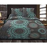 Déco-de-maison–Juego de cama (funda nórdica de 220x 240cm y fundas–Mandala–azul