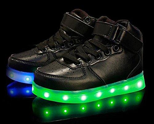 Firstmall-LED Chaussures High Top 7 Couleur Unisexe garçons et filles enfants USB Charge LED Lumière Lumineux Clignotants Chaussures de Sports Baskets Noir