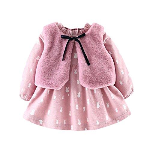 Baby Mädchen Prinzessin Kleid sets,OverDose Neugeborenes Baby Mädchen Cartoon Dicke Warme Prinzessin Kleid + Flock Weste Outfits Kleidung Set(6 Monate,A-Rosa) (Designer Taufkleider)