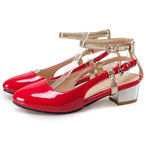 TAOFFEN Damen Mode-Event Mid Heel Office Sandalen Blockabsatz Geschlossene Toe Sommer Schuhe Rot