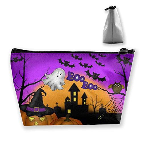 Womens Cosmetic Bag Halloween Owl Ghost Pumpkin Multifunction Makeup Portable Pouch Handbag Receive Bag,Trapezoid