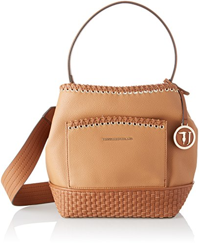 Trussardi Jeans Mimosa Smooth Ecoleather Satchel Bag, Cartables femme, Marron (Leather), 16x46x29 cm (W x H L)