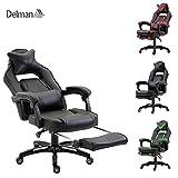 Delman XXL Racing Bürostuhl Schreibtischstuhl Gaming Chair Drehstuhl Höhenverstellbar mit Fußstütze Fußablage mit Armlehnen Chefsessel Große Sitzfläche Dicke Polsterung 11cm 02-0019 (Schwarz)