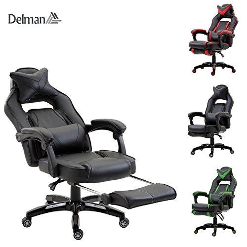 Sitz Grad 1 Polster (Delman XXL Racing Bürostuhl Schreibtischstuhl Gaming Chair Drehstuhl Höhenverstellbar mit Fußstütze Fußablage mit Armlehnen Chefsessel Große Sitzfläche dicke Polsterung 11cm 02-0019 (Schwarz))